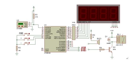 蜂鸣器电路在温度超出设定值范围时报警,提醒用户注意加热设备运行
